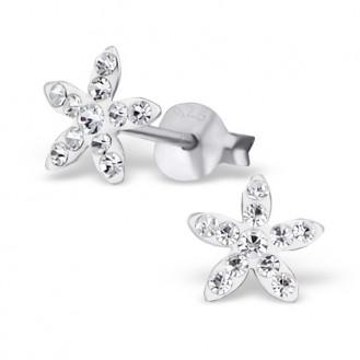 """Dětské stříbrné náušnice s krystaly """"Rozkvetlé květinky"""". Ag 925/1000"""